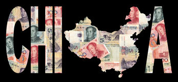 Map of china with currency Stock Images