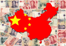 Map of china with currency. Map of china with collage of colourful Chinese currency illustration Stock Photo