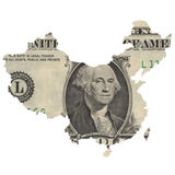 Map of China on a dollar bill. Capitalism and globalization. Map of China covered with one dollar bill, with George Washington on it. Map contains Taiwan and stock images