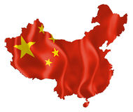 Map of China. With Flag (China Flag) flowing waving vector illustration