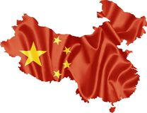 China Map with Flag. China map with waving flag on satin texture isolated on white royalty free illustration