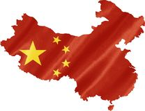 China Map with Flag. China map with waving flag on satin texture isolated on white stock photos