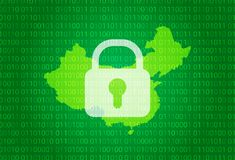 Map of China. illustration with lock and binary code background. internet blocking,virus attack, privacy protect stock illustration