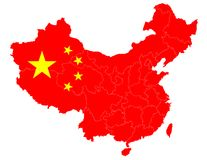 Map of China with the national flag Royalty Free Stock Photo