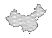 Map of China on old linen Stock Photography