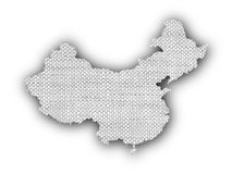 Map of China on old linen Stock Photos