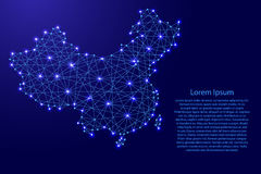 Map of China from polygonal blue lines, glowing stars  illustration Royalty Free Stock Image
