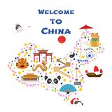 Map of China vector illustration, design. Icons with Chinese pagoda, animals, cities vector illustration