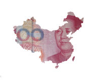 Map of China on a yuan bill. Map of China covered with 100 yuan bill, with Mao Tse-Tung on it. Map contains Taiwan and Hong Kong. Real photo, not a render stock photo