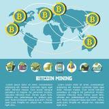 Bitcoin mining. Map of circulation of bitcoins. Vector illustration. Map of circulation of bitcoins in the world. Vector illustration. Bitcoin mining icon set Stock Image
