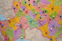 Map of cities of Russia Stock Images