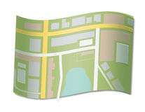 Map of a city. Map of a part of the city on a wavy sheet Stock Images