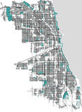 Map of the city of Chicago, USA. Vector map of the city of Chicago, USA Stock Photography