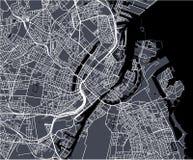 Map of the city of Copenhagen, Denmark. Vector map of the city of Copenhagen, Denmark stock photos
