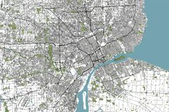 Map of the city of Detroit, Michigan, USA. Vector map of the city of Detroit, Michigan, USA stock illustration