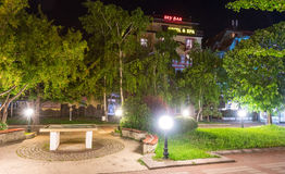 Map of the city in the heart of the old night of Pomorie in Bulgaria Stock Images