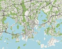 Map of the city of Helsinki, Finland. Vector map of the city of Helsinki, Finland Stock Photos
