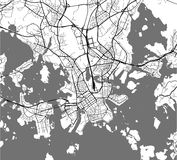 Map of the city of Helsinki, Finland. Vector map of the city of Helsinki, Finland Royalty Free Stock Image