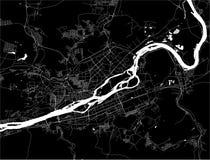 Map of the city of Krasnoyarsk, Russia. Vector map of the city of Krasnoyarsk, Russia stock illustration