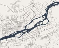 Map of the city of Krasnoyarsk, Russia. Vector map of the city of Krasnoyarsk, Russia vector illustration