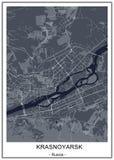 Map of the city of Krasnoyarsk, Russia. Vector map of the city of Krasnoyarsk, Russia royalty free illustration