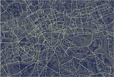 Map of the city of London, Great Britain. Vector map of the city of London, Great Britain Stock Photos