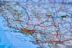 Map of the city of Los Angeles, California stock photography