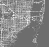 Map of the city of Miami, USA. Vector map of the city of Miami, USA Stock Photography
