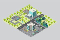 Map of city offices and shops in isometric. Map of city offices with Parking and shops in isometry. There are trees around the office. There are benches and royalty free illustration