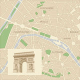 Map of the city of Paris Royalty Free Stock Photography