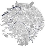 Map of the city of Paris, France. Vector map of the city of Paris, France Stock Image