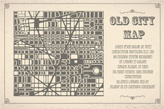 Map city plan. Retro map of the city. Editable vector street map of a fictional generic town. Abstract urban background Royalty Free Stock Photography