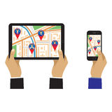 Map of the city on the screen with GPS signs. City map on the screen of the mobile device and GPS signs. Social Networks. Social Media. Global communication Royalty Free Stock Photography