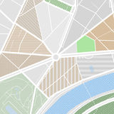 Map of the city with streets, parks and pond. Flat design abstract vector illustration. Stock Image