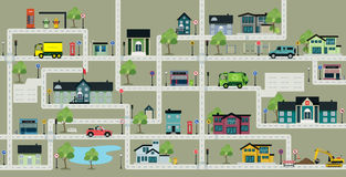 Map city streets with traffic signs. Planning a route by car on a city street with a traffic sign stock illustration