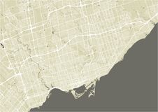 Map of the city of Toronto, Canada. Vector map of the city of Toronto, Canada Royalty Free Stock Images