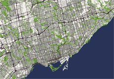 Map of the city of Toronto, Canada. Vector map of the city of Toronto, Canada Royalty Free Stock Photo