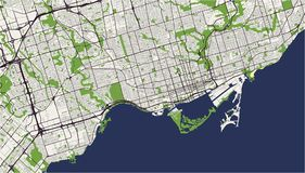 Map of the city of Toronto, Canada. Vector map of the city of Toronto, Canada Stock Image