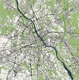 Map of the city of Warsaw, Poland. Vector map of the city of Warsaw, Poland royalty free stock photos