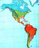 Climate types of Americas. Map of climate zones of North and South America stock photos
