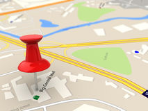 Map closeup. 3d illustration of map closeup with red pin Royalty Free Stock Photography