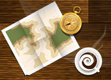 Map cofe and compass plan to travel. Stock Photography