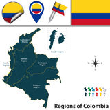 Map of Colombia with Natural Regions Royalty Free Stock Photos
