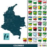 Map of Colombia. Vector map of Colombia with named departments and flags Royalty Free Stock Images