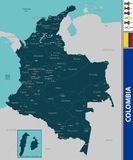 Map of Colombia. Vector map of Colombia with neighboring countries Stock Photo