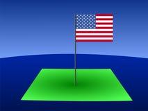 Map of Colorado with flag. Map of Colorado with American flag on pole illustration Royalty Free Stock Photo