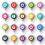 Map colored icons, on folded from gray paper Royalty Free Stock Photos