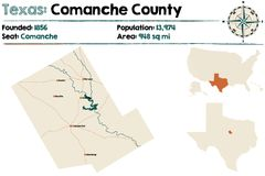 Map of Comanche county in Texas. Detailed map of Comanche county in Texas, USA Royalty Free Stock Photography