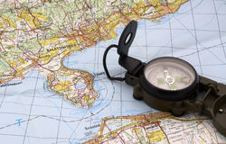 Map and compass. Balaton map and compass on table Royalty Free Stock Photography