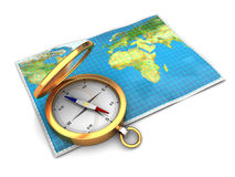 Map and compass. 3d illustration of world map with compass, over white background Royalty Free Stock Image